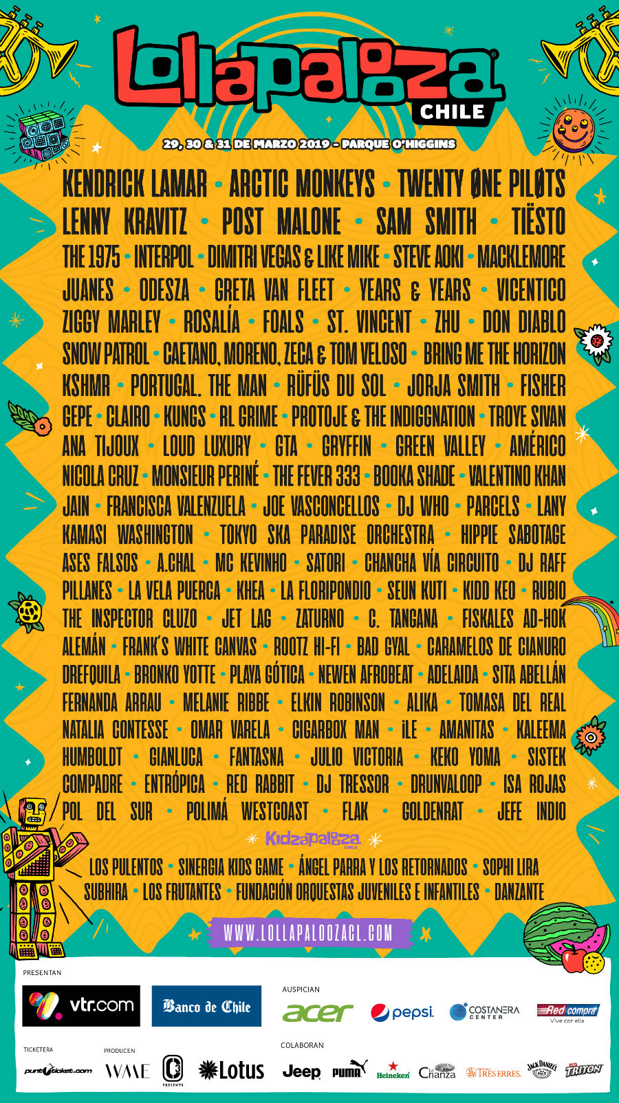 Cartel Lollapalooza Chile 2019