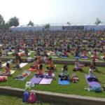 Yoga y relajo en un jardín botánico